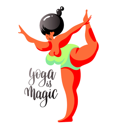 yoga is magic hand lettering with beautiful fitness woman figure characters, vector illustration