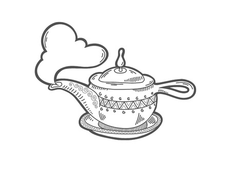 sketch drawing icon of aladdin magic lamp, boiling kettle with a cloud of steam, vector illustration Illustration