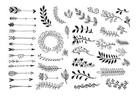 Conjunto de bordes y flechas de divisores de página de dibujo a mano, elementos de diseño floral de doodle, colección de ilustraciones vectoriales