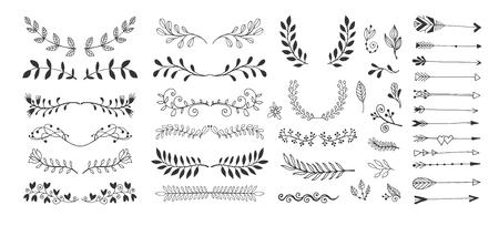 Satz von Handzeichnungsseitenteilern, Rändern und Pfeil, Doodle-Blumendesign-Elemente, Vektorillustrationssammlung Vektorgrafik