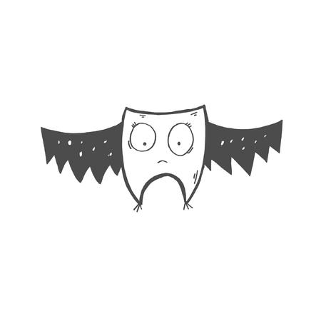 sketch drawing doodle icon of strange bat or owl with big eyes, vector illustration Banque d'images - 124679448