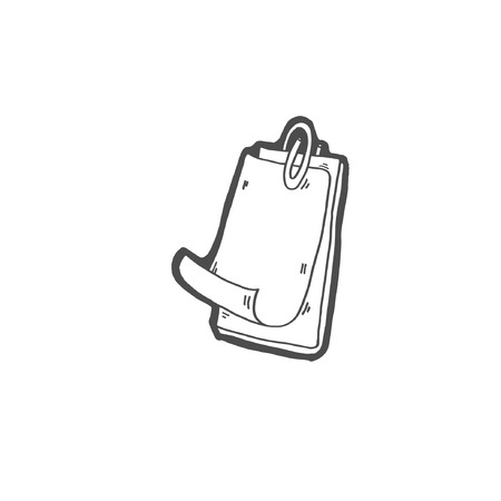 sketch drawing doodle icon of a sheet of paper is fixed with a paper clip, vector illustration Ilustrace