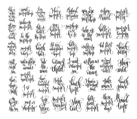 set of 50 hand lettering inscriptions text to summer holiday design, calligraphy vector illustration collection