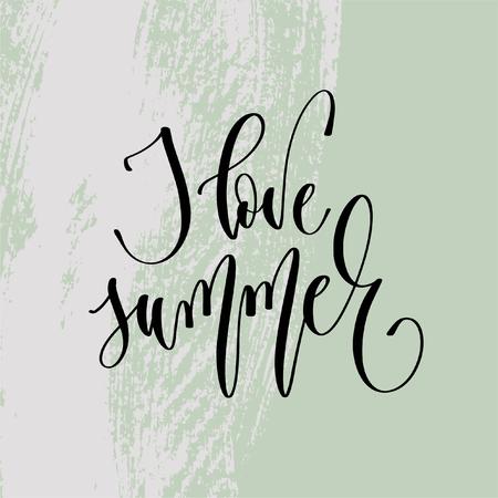 I love summer - hand lettering poster to summer holiday design Ilustração