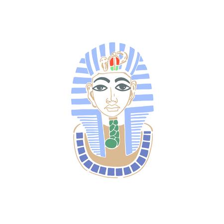 hand drawing icon of mask egyptian pharaoh tutankhamun, Cairo, Egypt, vector illustration Illustration