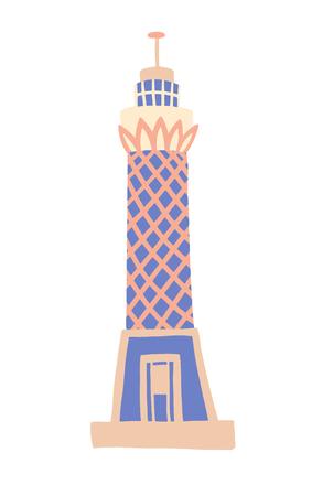 Icône de dessin de croquis de tour du Caire, Gizeh, Egypte, illustration vectorielle