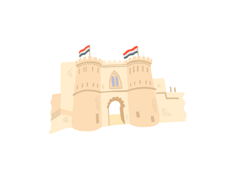 cairo citadel hand drawing icon in minimalistic style, Egypt, Giza