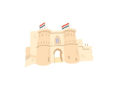 Icône de dessin à la main de la citadelle du Caire dans un style minimaliste, Egypte, Gizeh