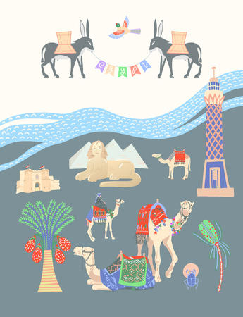 travel card about Egypt, great famous egyptian places in Giza, vector illustration
