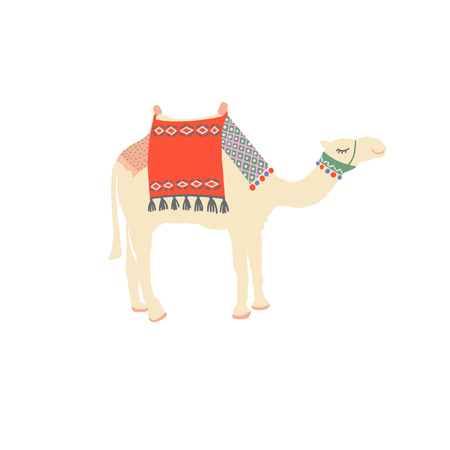 egyptian camel decorated with bright carpets and ornaments in minimalistic hand drawing style, vector illustration Illusztráció