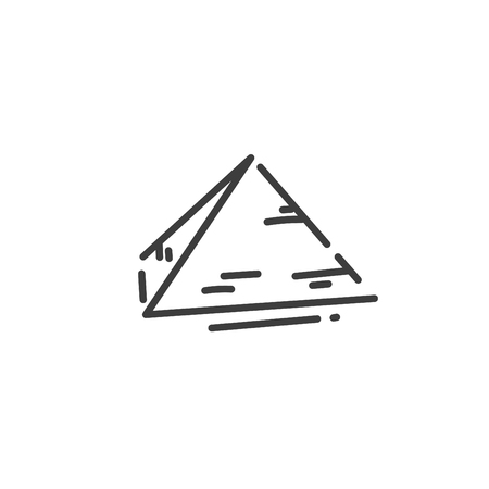 pyramid flat outline icon of Egypt, concept silhouette