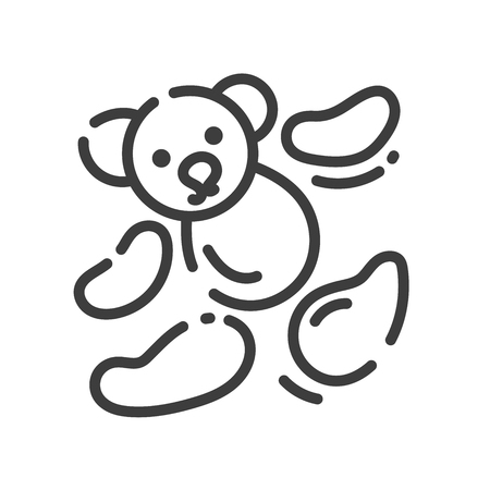 trendy line style icon about sewing toys - teddy bear pieces for sewing, vector illustration