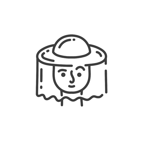 simple line art icon of beekeepers head in a protective hat