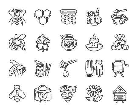 set of simple flat line art icon about beekeeping and apiary pictogram design, vector illustration collection
