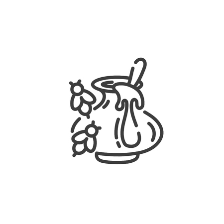 simple line art icon of clay pot with honey and bees fly around, vector illustration