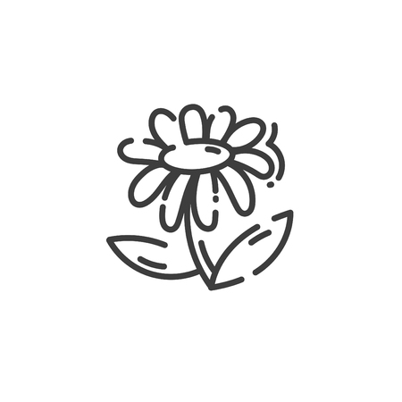line art icon of flower isolated on white, vector illustration 일러스트