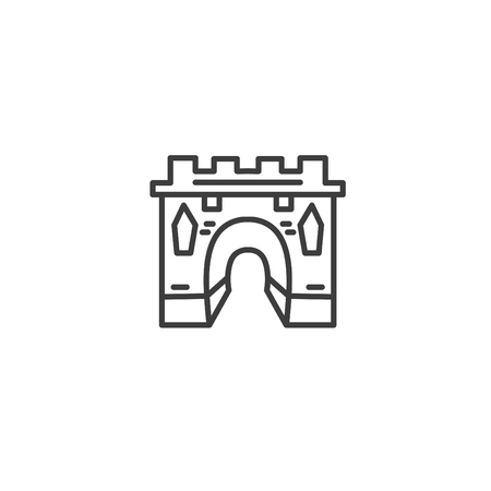 Urban and city element icon - medieval gate, sight in trendy simple line art style