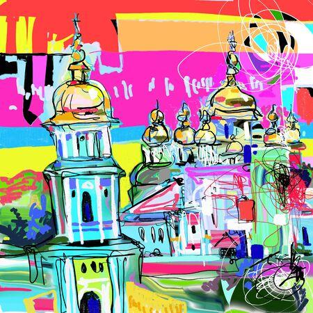 original contemporary digital art of Kyiv Ukraine cityscape, travel card