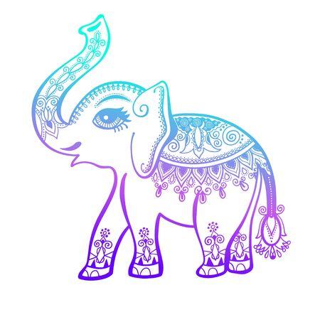elephant painted tribal ornament, indian vintage graphic ethnic elephant tattoo, vector illustration