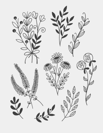 little branches and florals for tiny tattoo, hand draw doodle sketch drawing