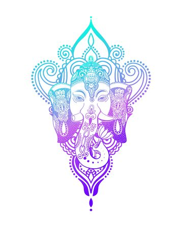 lord ganesha head with lotus drawing - indian spirit animal elephant tattoo or yoga design Zdjęcie Seryjne - 128721827