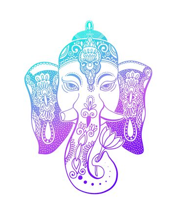 lord ganesha head with lotus drawing - indian spirit animal elephant tattoo or yoga design Zdjęcie Seryjne - 128721828