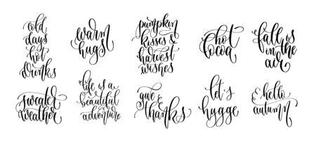 set of 10 autumn quotes, hand lettering inscription text, fall calligraphy collection  イラスト・ベクター素材