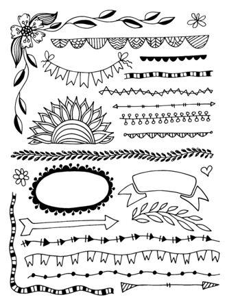 ensemble d'éléments de décor de diviseur de doodle croquis de dessin à la main cadres, lignes de bord