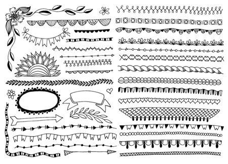 doodle frames, edge lines, dividers, borders Vektorové ilustrace