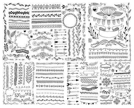 hand drawing doodle page decoration, set of vintage elements Illustration