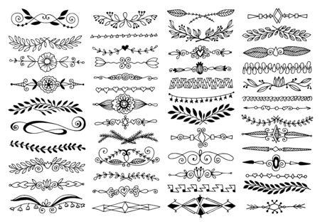divisor de dibujo de boceto de doodle, elemento de diseño de tarjeta de boda o decoración de página