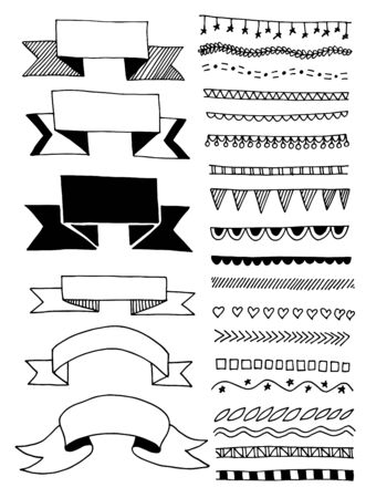 hand drawing sketch doodle ribbon and stripe divider Stock Vector - 129701403