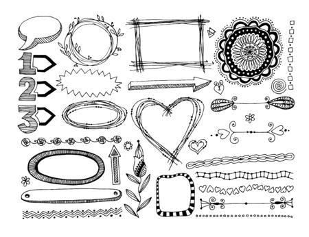 set of doodle frame, dividers and design element Çizim