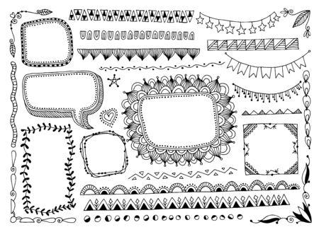 set of doodle sketch frame, line, corner and divider
