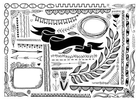 set of sketch doodle frame, banner line page divider, vector illustration  イラスト・ベクター素材