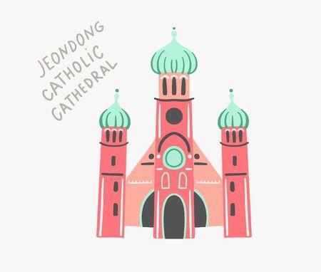 doodle flat vector illustration of jeondong catholic cathedral
