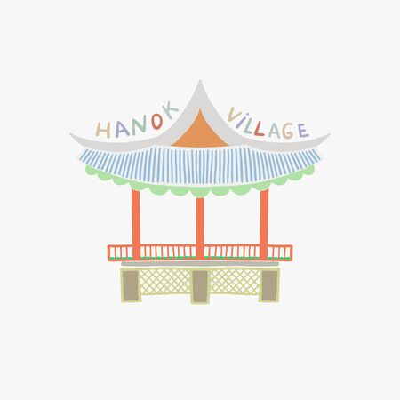 vector illustration of Namsangol Hanok Village in Seoul Korea