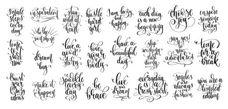 set of 25 hand lettering motivation and inspiration positive quote, calligraphy vector illustration collection