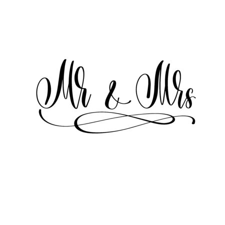 Mr and Mrs - hand lettering inscription to wedding invitation or Valentines day design