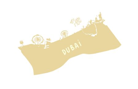 Dubai (United Arab Emirates) map in flat hand drawing style