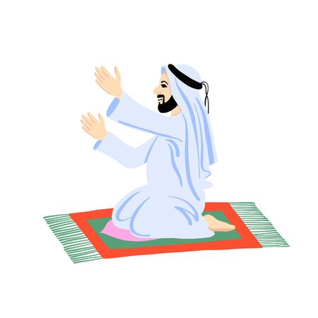 arab muslim man praying on a praying carpet
