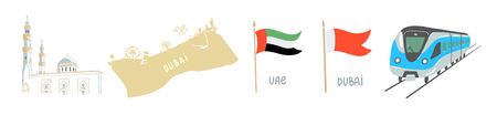 set of hand drawing icon symbol from Dubai, United Arab Emirates