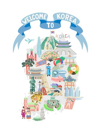 welcome to Korea blue ribbon poster with map and hand drawing symbols icon