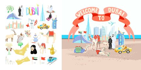 welcome to Dubai poster with set of hand drawing symbols icons of Dubai