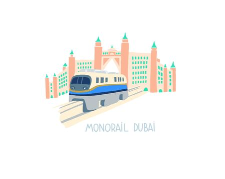 hand drawing flat style of monorail in Dubai, United Arab Emirates, Middle East 일러스트