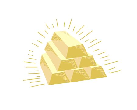hand drawing sketch icon of six gold bars