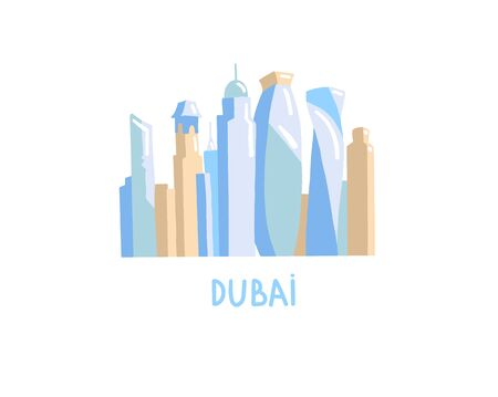 hand drawing icon of skyscrapers dubai, United Arab Emirates, Middle East, vector illustration