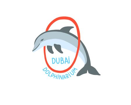 hand drawing sketch icon of Dubai dolphinarium - dolphin jumps through the ring, vector illustration