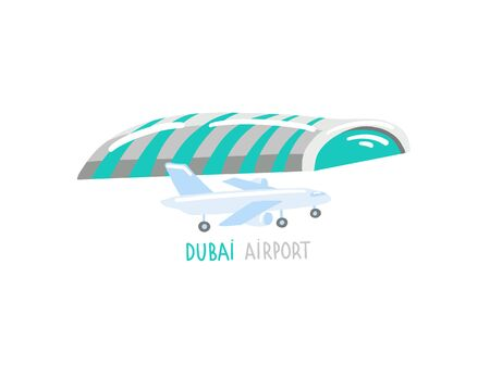 Dubai airport - hand drawing icon in flat style, United Arab Emirates 向量圖像