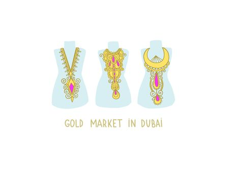 gold market in Dubai - hand drawing flat style icon of famous place in Dubai, United Arab Emirates, Middle East